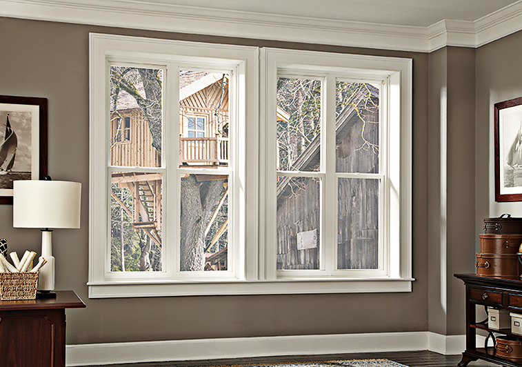 Interior perspective of double hung replacement windows installed