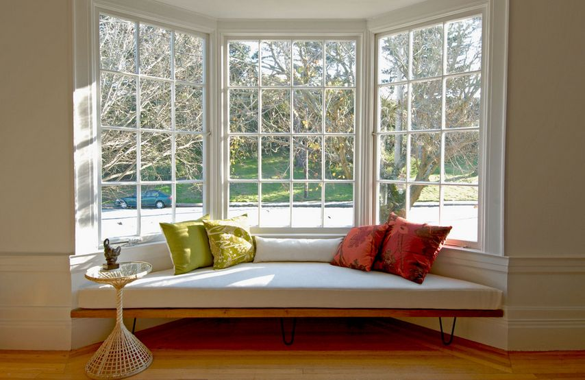 Interior view of bay window with comfy window seat