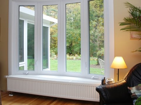 Interior view of bow windows in a living room