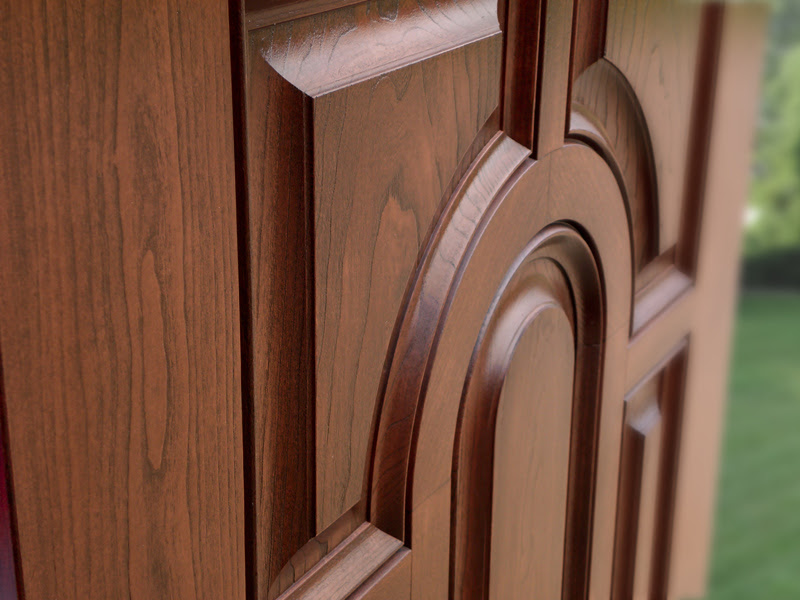 Close-up detail of a low-maintenance entry door