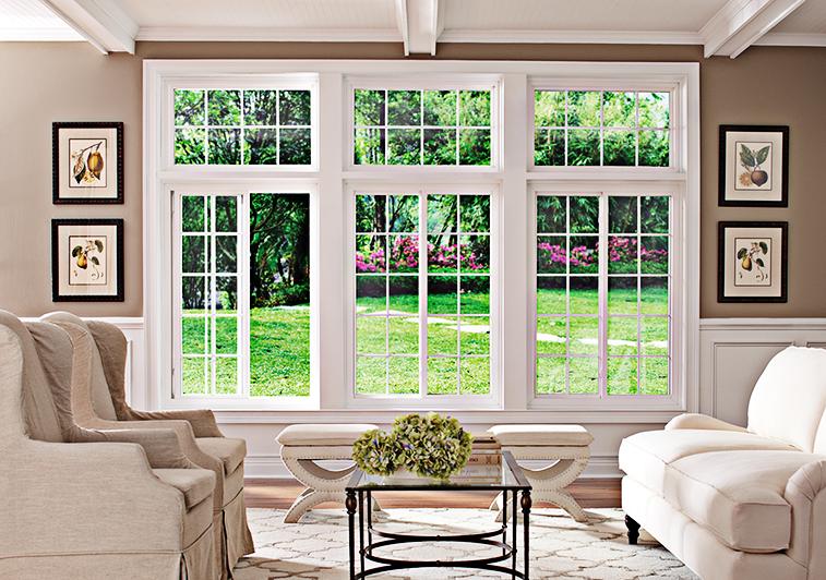 Interior view of sunlit living room featuring horizontal sliding windows