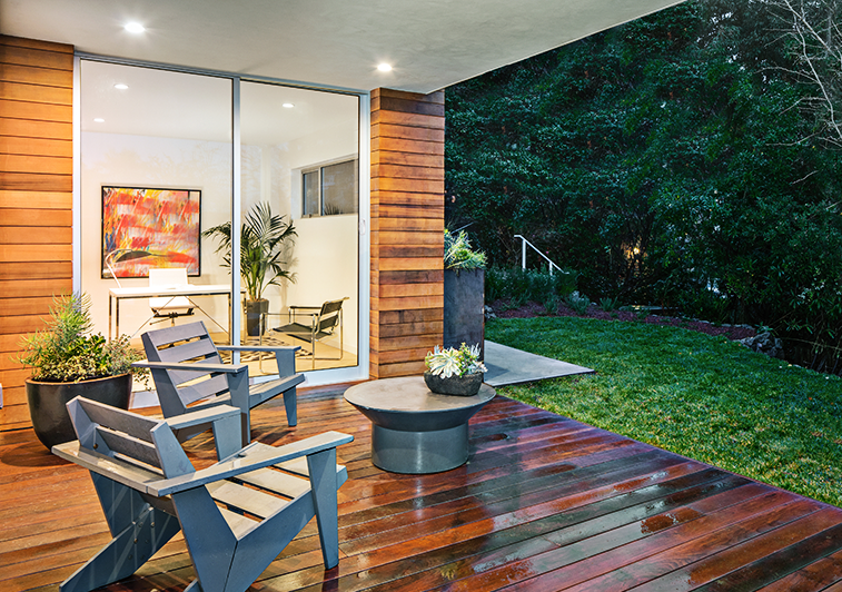 Inviting backyard living space with custom-fit patio door