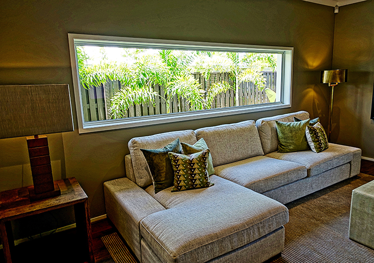 Interior view of rectangle, horizontal window in a living space