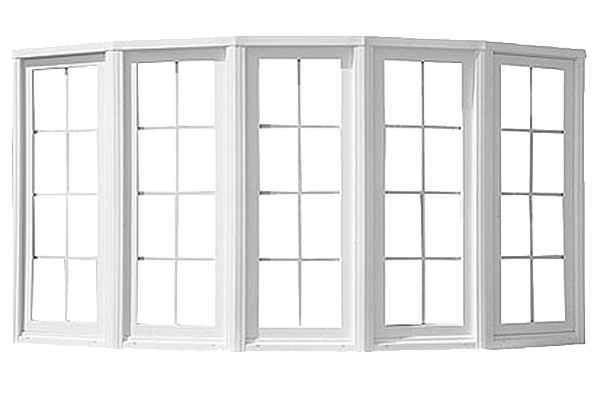 White 5-section bow window