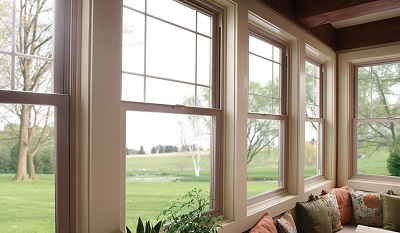 Interior of sunroom with fully-welded double hung windows