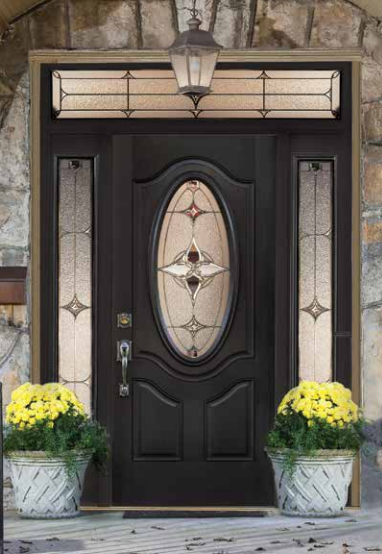 Dark-colored exterior door featuring an oval stained-glass window with matching sidelights and transom