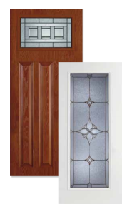 Exterior doors with stained glass inserts