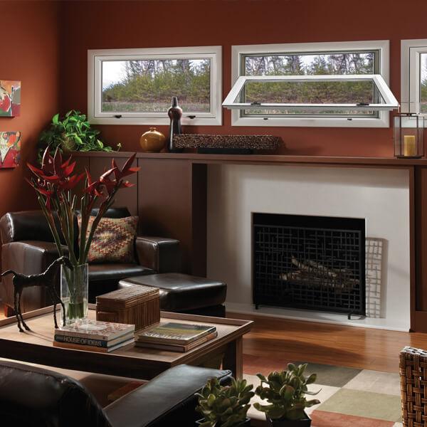 Interior view of single-sash hinged, awning windows