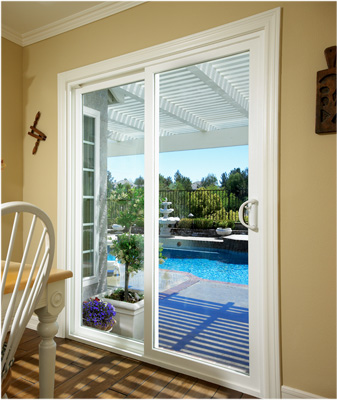 White, easy-gliding patio door which leads to backyard pool area